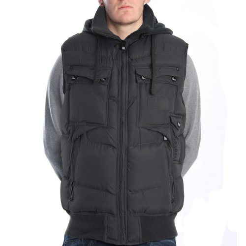 Brave Soul Division Grey Hooded Gilet CHARCOAL M
