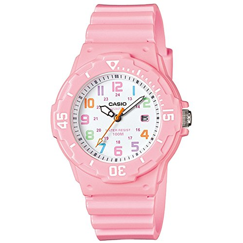 Casio Women's LRW200H-4B2V Pink Resin Analog Quartz Watch with White Dial