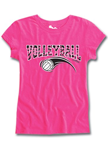 Volleyball Short Sleeve Semi Sheer Fitted Tee Hot Pink Small front-597753