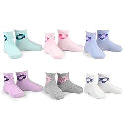 Naartjie Girls Flower Icon Fashion Cotton Short Crew Socks 6 Pairs Pack (6-12Months)
