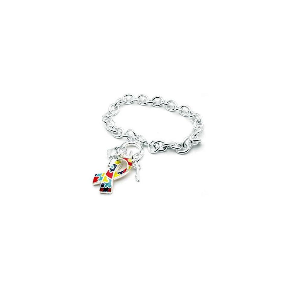 Aspergers Autism Awareness Puzzle Ribbon Charm Bracelet