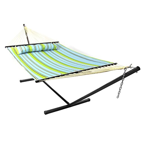 Sunnydaze LY-BGHFWP-COMBO-M Blue and Green Quilted Double Fabric Hammock with Spreader & Stand