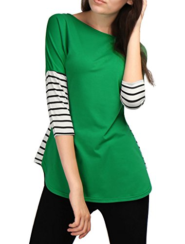Allegra K Women 3/4 Sleeves Striped Panel Dolphin Hem Tunic Top Green XL (Allegra Clothing For Women compare prices)