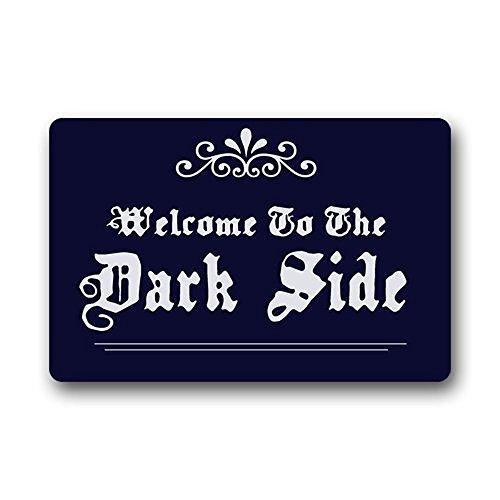 Doormat No.01 Decorative Doormats Top Fabric & Non-Slip Rubber Backing Durable Indoor & Outdoor Doormat Door Mats (23.6*16.7) - Welcome To The Dark Side Funny Cute Dark Blue Design