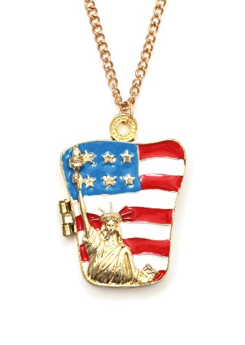 Statue of Liberty American Flag Locket Necklace Patriotic USA New York City Statement Pendant Fashion Jewelry
