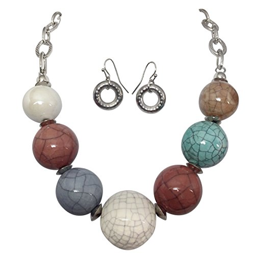 Crackle-Ceramic-Multi-Color-Beads-Chunky-Statement-Boutique-Necklace-Earrings-Set