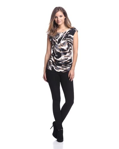 Calvin Klein Women's Printed Top with Shoulder Buttons