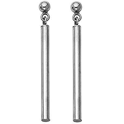 Wellingsale® Ladies 14k White Gold Polished Fancy Dangle Hanging Drop Earrings (2 x 40mm)