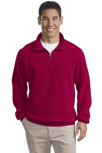 Port Authority Men's Flatback Rib 1/4 Zip Pullover L True Red