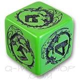 1 (One) Single D6 Q Workshop: Carved Dragon D6 Dice / Die (Green & Black)