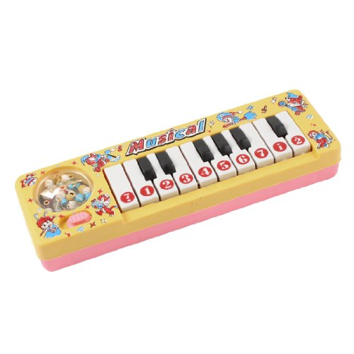 Child Girls Pattern Piano Keyboard Plastic Electronic Organ Toy Yellow front-1004345