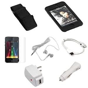 USB Data Cable + USB Car Charger + USB Home Charger + Black Rubber Silicone Skin Case + Elastic Armband + Clear Reusable LCD Screen Protector + White 3.5mm Stereo Headset for Apple Ipod Touch Itouch 8GB 16GB 32GB 2G 2nd Generation from Bargaincell