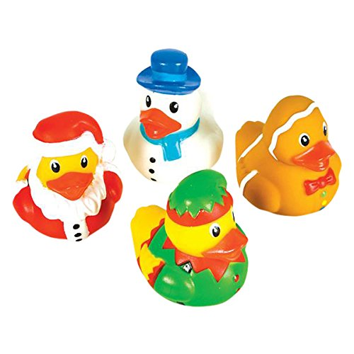 "Rhode Island Novelty 2"" Holiday Character Christmas Rubber Ducks (12 Piece) - 1"
