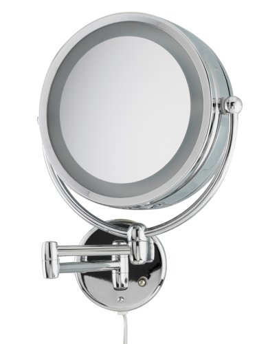 Danielle Revolving Wall-Mounted Lighted Mirror, Chrome, 10X
