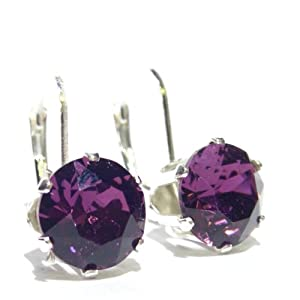 SILVER LEVERBACK EARRINGS MADE WITH AMETHYST SWAROVSKI CRYSTAL. HIGH QUALITY. LOW PRICES.