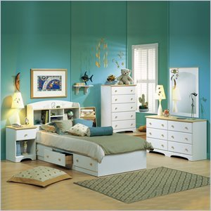 Cheap South Shore Newbury Kids Twin Captain's 3 Piece Bedroom Set in White Finish (3263-PKG)