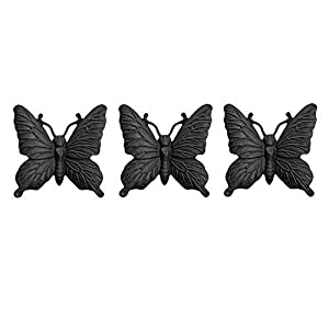 Black Set of 3 Cast Iron Butterfly Wall Mountable Garden Ornaments by Gardens2you