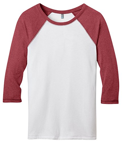 Juniors 50/50 3/4-Sleeve Raglan Tee - Heathered Deep Red/Whi