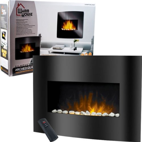 Brand New Warm House Black Arched Glass Electric Fireplace picture B00HEXLG3Q.jpg