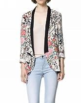 ELLAZHU Floral Print Collarless Long Sleeve Tailored Blazer Suit Jacket CZ82 M