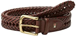 Tommy Hilfiger Mens Braided Belt,Tan, 34
