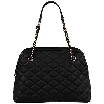 FASH Quilted Chain Strap Hobo Shoulder Handbag,Black,One Size