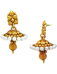 Traditional Ethnic Pearl Heart Floral Gold Plated Dangler Earrings For Women By Donna ER30066G
