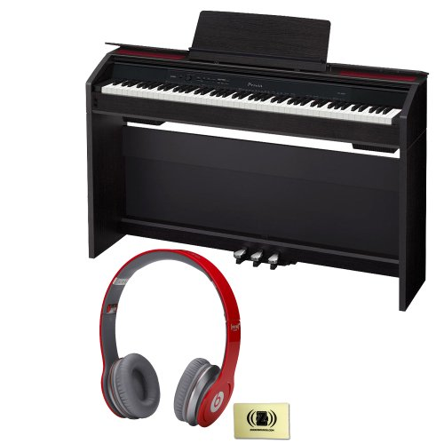 Casio Privia Px-850 88-Key Digital Piano Bundle With Beats By Dr. Dre Solo Hd On-Ear Headphones (Red) And Custom Designed Zorro Sounds Instrument Cloth