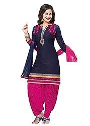 RK Fashion Womens Cotton Un-Stitched Salwar Suit Dupatta Material ( RAJGURU-KUDI--731-Blue-Free Size)