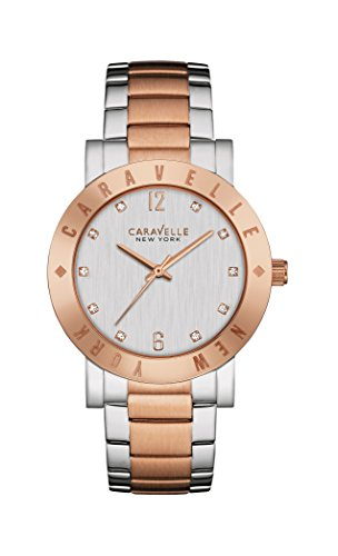 Caravelle New York Boyfriend Women's Quartz Watch with Silver Dial Analogue Display and Two Tone Stainless Steel Rose Gold Plated Bracelet 45L150