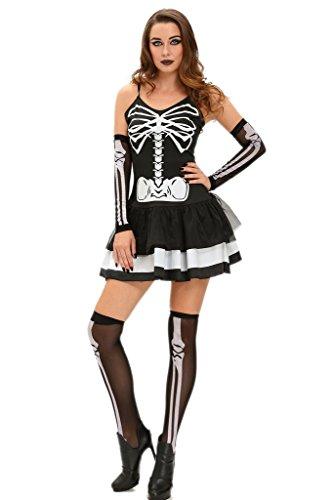 [ZKESS Women's Skater Mini Dress Skeleton Bone Skull Halloween Costume Large Size Black] (Womens Skeleton Halloween Costumes)