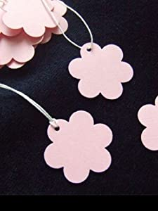 Price tags - Small Pink Flower Tie On Price Tags- create strung tags for small gifts & wedding favours