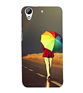 Fuson Premium Back Case Cover Girl with colourful Umbrella With Yellow Background Degined For HTC Desire 728g Dual::HTC Desire 728G::HTC Desire 728