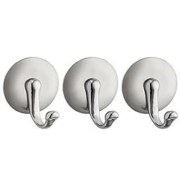 InterDesign York Self Adhesive Hook, Large, Brushed Stainless Steel/Chrome, Set of 3