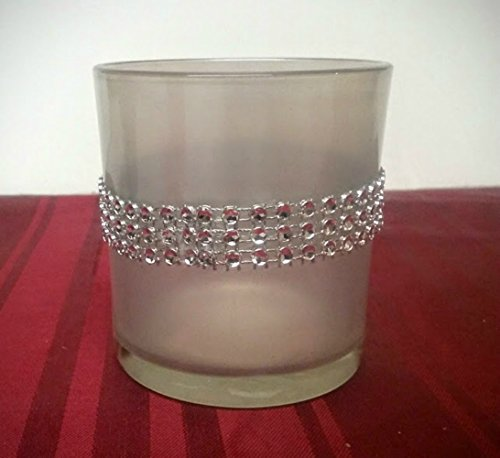 Christmas Holiday White Votive Glass Candle Holder, Rhinestone Candle Holder for Her, Tealight Holder, Wedding Decoration for the Reception Table