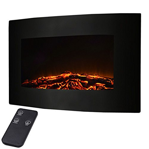 "Giantex 35"" Xl Large 1500w Adjustable Electric Wall Mount Fireplace Heater W/remote"