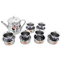 Nandini Steel Coffee Percolator, Grey, 10.795 cm x 10.795 cm x 12.7 cm