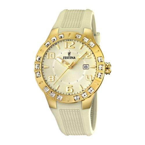 Festina F16582/2 - Reloj analógico de cuarzo para mujer con correa de caucho, color beige