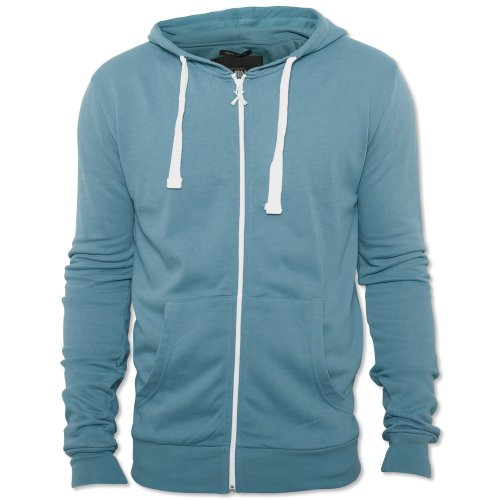 Criminal Damage Mens Pagado Blue Skinny Hooded Long Sleeve Designer Zip Jacket Blue Large
