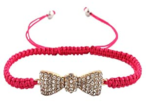 Pink with Gold Iced Out Bow Tie Shamballah Lace Bracelet