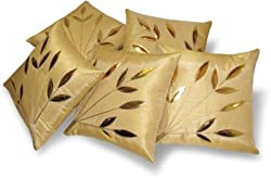Leaves Cushion Covers Set of 5 (12x12 Inch)