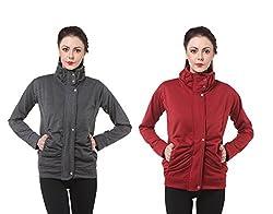 Bfly Grey & Maroon Fleece Zippered for Women