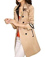 DJT Women's Elegant Long Trench Coat with Belt