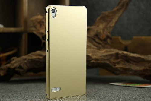 Eforgift New Release Shockproof Push-in Metal Bumper Case Cover Ultra Slim Light Weight Shell Aircraft Grade Aluminium Alloy Protective Cover for Huawei Ascend P6 with 2 Pieces (Include Full Back Case