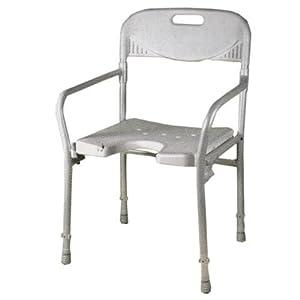 Duschstuhl, faltbar mit Rückenund Armlehne, höhenverstellbar, mit Intimausschnitt    Überprüfung und weitere Informationen