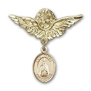 14K Gold Baby Badge with St. Blaise Charm and Angel with Wings Badge Pin