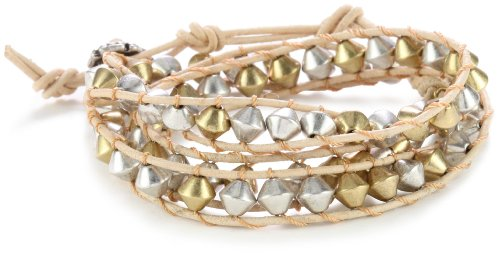 Lucky Brand Silver and Gold-Tone Metal Beaded Wrap Bracelet