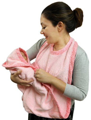 Extra Large Hands Free Absorbent Hooded Towel, Pink, Frenchie Mini Couture - 1