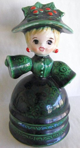 Vintage Lefton Little Miss Green Holly Ceramic Bell