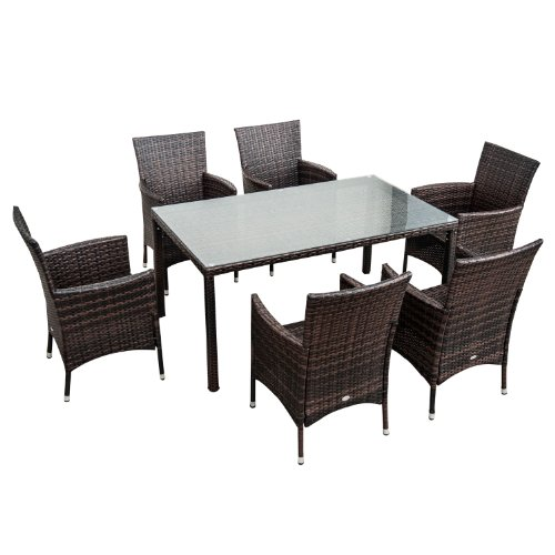 Outsunny 7-Piece Outdoor Rattan Wicker Patio Dining Set, Brown image